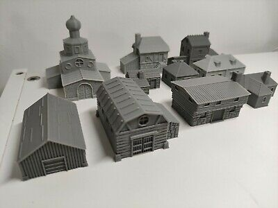 10mm Scale Wargame Scenery Russian Village Buildings – 10 Items • 30£