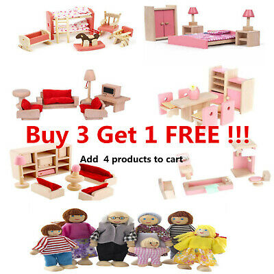 Kid Pink Wooden Furniture Dolls House Miniature 6 Room Set Doll For Gift DIY New • 8.99£
