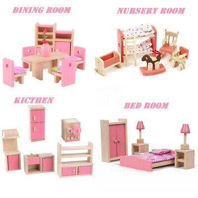 Kid Pink Wooden Furniture Dolls House Miniature 6 Room Set Doll For Gift DIY New • 11.99£