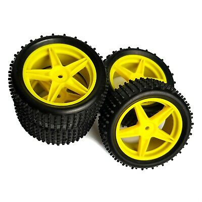 4 X 1/10 RC Off-Road Wheels & Tyres 5 Spoke Yellow For Tamiya TT02B And Others   • 17.99£