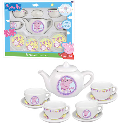Peppa Porcelain Tea Set With 10 Pieces Peppa Pig Afternoon Tea Toy Playset  New • 8.99£