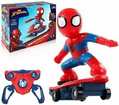 2.4ghz Spiderman Stunt Scooter Skateboard Radio Remote Control Car Music & Light • 23.99£