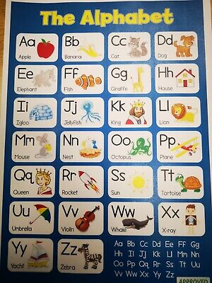 ALPHABET Educational Poster Laminated For Kids A4 • 3£
