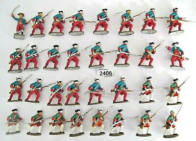 Metal Soldiers American War Independence ? - 32 Infantry Mainly Painted - (2406) • 14.50£