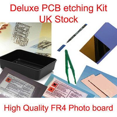 Deluxe Pcb Photo Board Etching Etch Simple Set Kit New Uk Stock • 29.99£