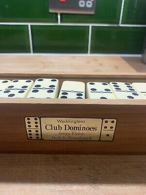 Vintage Waddingtons Boxed Set Of Club Dominoes With Built In Cribbage Scoreboard • 7.10£
