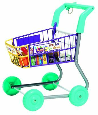 Role Play Child's Shopping Trolley Supplied With Imitation Food Cartons • 34.99£