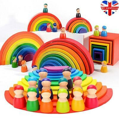 Baby Toys Large Size Rainbow Building Blocks Wooden Toys Kids Creative Stacker • 9.37£
