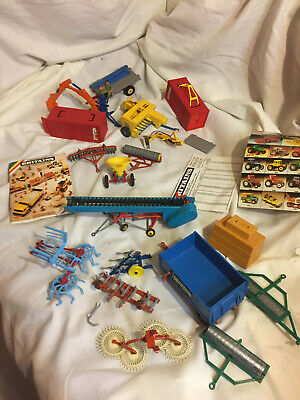 Some Britains Farm Toys Implement Collection 1980s Lot Plough Elevator Harrow  • 44£