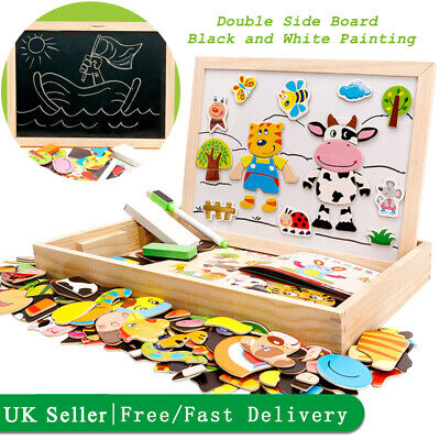 Kids Wooden Jigsaw Cute Animal Puzzle Board Educational Toys Game Boy&Girl Gift • 9.91£