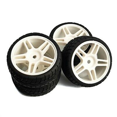 1/10 RC Road Wheels & Tyres 5 Double Spoke White For Tamiya TT02 TT01 Fazer • 14.99£