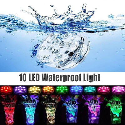 10 LEDs RGB Swimming Pool Spa Bath Lights Underwater W/ Remote Fish Tank Lamp • 11.49£