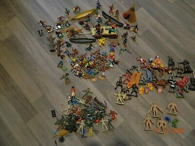 Job Lot Well Over 100 Model Figures Cowboys Indians Knights Soldiers Vintage • 4.20£