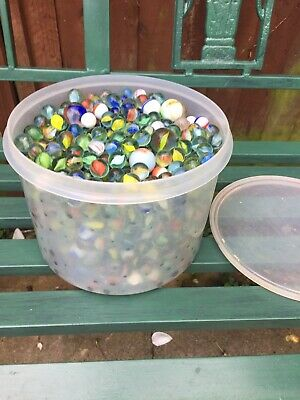 TUB Of GLASS MARBLES VINTAGE From 1970/80 • 8£