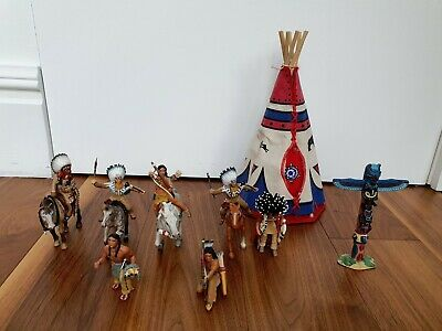 Red Indian Figures With Wigwam And Totem Pole • 5£