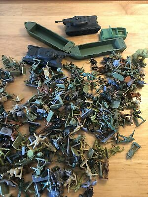 Vintage Plastic Toy Soldiers Bundle Lots With Tanks Landing Craft And Jeep Dog • 4.99£