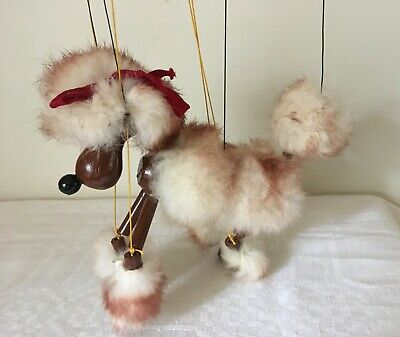 Vintage Rare PELHAM PUPPET  BROWN FLUFFY POODLE Red Ribbon 1950's + Box • 32£