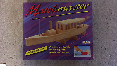 New  1996 KSG Matchmaster Steam Launch Matchstick Modelling Kit • 5.50£