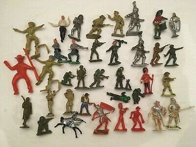 Job Lot 36  Vintage Plastic Toy Soldiers: Lone Star Hilco Crescent Etc Play Worn • 8£