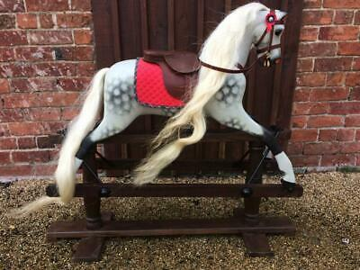 Stunning Dapple Grey Antique Rocking Horse By Lines Toy Horse Detachable Tack • 1,850£