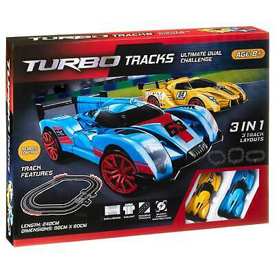 TURBO TRACKS ULTIMATE DUAL CHALLENGE ( 3 IN 1- 3 Track Layouts ) • 19.99£