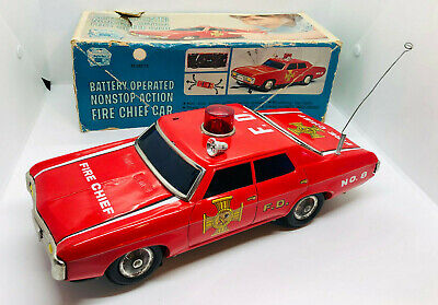 Large Vintage Japanese Tinplate Battery Fire Chief Car Boxed 1970s • 40£