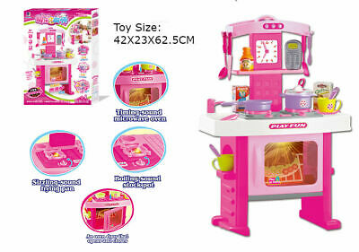 Large Pretend Girls Kitchen Cooking Toy Portable Cooker Play Set Pink Sound Gift • 16.49£