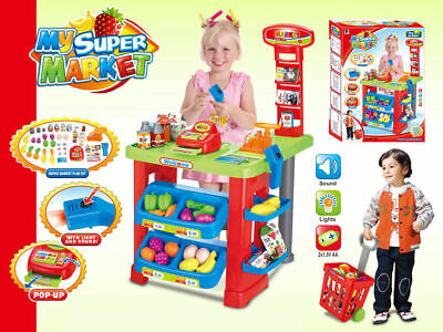 Childrens Kids Pretend Role Play Big Supermarket Shop Toy Set Trolley & Food UK • 23.95£