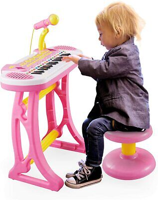Girls Electronic 31 Key Keyboard Piano Toy Record+Microphone Stool Children Pink • 23.95£