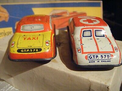 Classic Tinplate Cars Glamtoy & Mettoy Made In England  Tinplate Friction 1950s • 54.99£