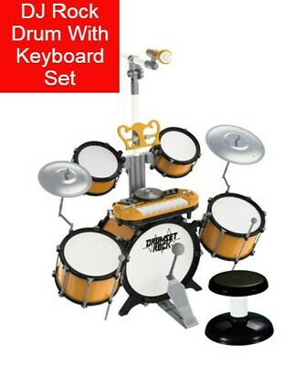 Gold Electronic DJ Rock Drum Keyboard Piano Toy Microphone Percussion Book Mp3  • 34.95£