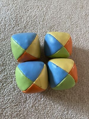 Childrens Kids Multicolour Leather Juggling Balls X4 • 2£