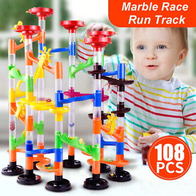 108pc Marble Run Race Construction Building Stacking Children Toys Playset Track • 9.95£