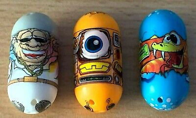 3 X Collectable  Mighty Beanz 2010 - Snake Egg/ Cool Granpa/One Eyed Robot • 3.50£
