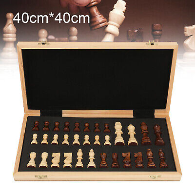 40x40cm Large Chess Wooden Set Folding Chessboard Magnetic Pieces Wood Board UK • 27.89£