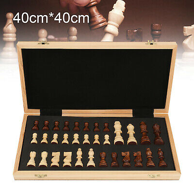 40x40cm Large Chess Wooden Set Folding Chessboard Magnetic Pieces Wood Board UK • 26.99£