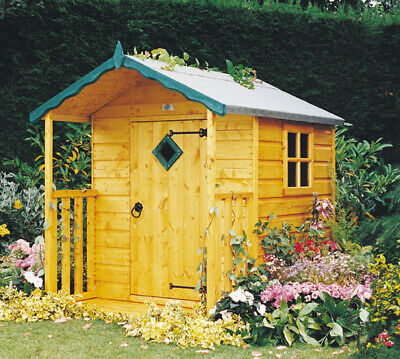 4x6 CHILDRENS PLAY HIDE GARDEN PLAYHOUSE OUTDOOR VERANDA KIDS WENDY HOUSE 4ft 6' • 299.94£