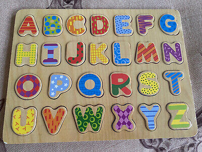 Wooden Alphabet ABC Puzzle Board - (Educational Toys) • 2.90£
