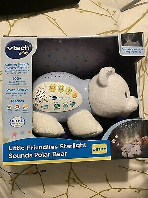 Vtech Little Friendlies Starlight Sounds Polar Bear Educational Toy Bnib • 20£