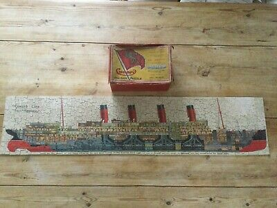 """Rare Vintage Cunard Aquitania 3 Foot 7"""" Long Wooden Jigsaw Puzzle Chad Valley • 45£"""