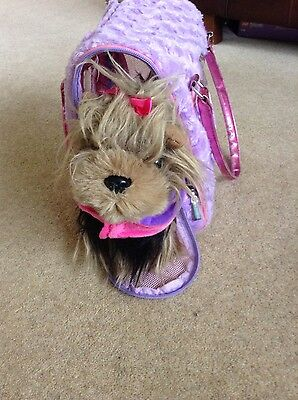 Pucci Puppy Brown Yorksire Terrier Dog  With Lilac Carry Bag • 9.99£