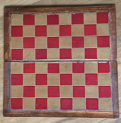 Old Leather Chess Board.  Victorian. 2 Inch Squares. • 6.50£