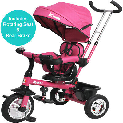 Kiddo Baby Kids 4in1 Tricycle Bike Ride On Trike Stroller 3 Wheels Canopy Pink • 99.99£