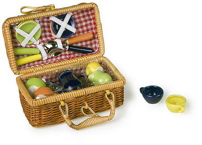 NEW Toy Picnic Basket  Multicoloured  Wicker Full Set With Plates Cups And More • 10.99£