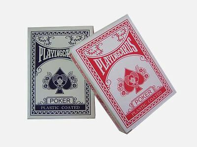 2 Decks Of Professional Plastic Coated Playing Cards Poker Size Various Colours • 2.25£