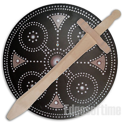 Round Wooden Clan Buckler Soldier Shield & Wooden Sword Role Play Toy • 12.90£