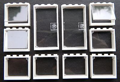 LEGO OFFICE Windows + Doors (pack Of 10) 1x4x3 WHITE GLASS CLEAR Police Hospital • 8.37£