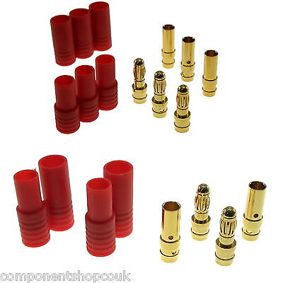 HXT 3.5mm - 4mm Gold Bullet 2-3 Way RC Connectors With Red Housing UK Seller • 2.60£