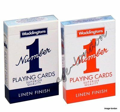 2 Decks Of WADDINGTONS NUMBER 1 No 1 Playing Cards Classic - Red And Blue • 3.49£
