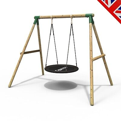 Rebo Kids Wooden Garden Swing Set Childrens Swings - Spider Net/Nest Swing  • 189.95£